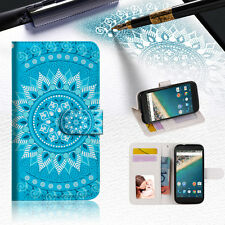 BLUE AZTEC TRIBAL Phone Wallet Case Cover For Alcatel Pop Star -- A001