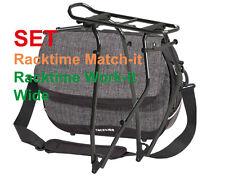 """SET Racktime Work-it Tasche + Match-it QL3 Gepäckträger 28"""", grau"""
