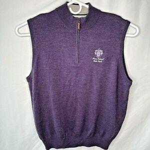 Trump National Peter Millar Mens XL 1/4 Zip Sweater Vest Purple Merino Wool