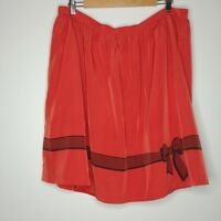 Bea & Dot Modcloth Silky Bow Print Skirt Pumpkin Orange Size 1X