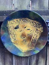 More details for vintage mid century dekor peceni enamel wall charger green man plate plaque art