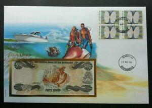 [SJ] Bahamas Sea Shell 1999 Marine Ocean Diving Ship FDC (banknote cover) *rare