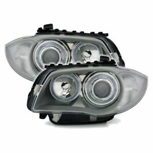 Front headlights (Angel Eyes) for BMW 1 E8 - silver