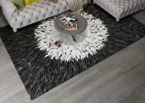 New Large Cowhide Rug Patchwork Cow skin Cow Hide Leather Carpet Black.