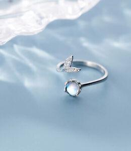 B18 Ring Mermaid Fin Zirconia Blue Sterling Silver 925 Adjustable Size