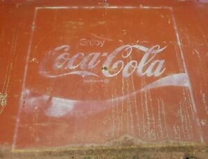 "Authentic Original Vtg 1960's Coca-Cola Metal Tin Salvaged Coke Signs 35"" x 17"""