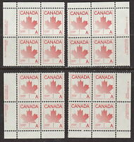 CANADA #907ii Stylized Maple Leaf 'A' Match Set of Plate #3 Blocks MNH