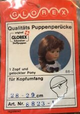 NEW Glorex Swiss Long Brunette Side Pony Tail Doll Wig 28-29cm 11-11.5 Inches