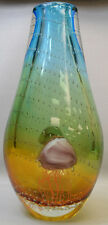 "New 12"" Hand Blown GlassArt Vase Blue Green Yellow Jellyfish Decorative Handmad"