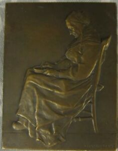 HUGE 1900 Bronze Plaque Medal By G. Prudhomme  Old Woman In Chair 93mm X 69mm