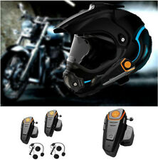 2x 1000M Motorcycle Bluetooth Helmet Intercom Waterproof BT Motorbike Headsets