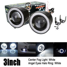 "Universal 3"" Inch/76mm Projector Fog Lights Bumper Lamps White Halo Ring DRL 12V"