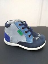 New $80 KICKERS Kids Boys Baby Boots First Walker Blue LEATHER Sz 4 USA/20 EURO