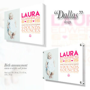 Personalised Canvas / Acrylic wall picture with custom text Gift Present Dallas