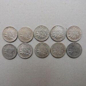 Lot 10 pièces 50 centimes SEMEUSE ARGENT (3)