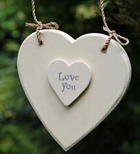 White wooden hanging heart - Love You ideal gift 469 EOI