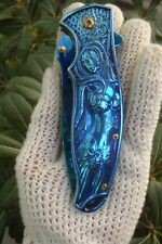 Sexy Warrior Woman SLAYER Pocket Knife BLUE  Retired + Tri  Fidget Spinner NEW