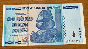 2008 100 TRILLION DOLLARS ZIMBABWE BANKNOTE AA P-91 GEM Unc Note Currency
