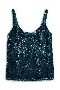 Next Teal Sequin Embellished Cami Vest Top Christmas Festive