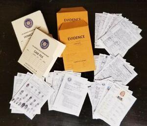 1/6 SCALE Mini Police Homicide CSI Paperwork, 2 Folders, 2 Evidence, 25 Document