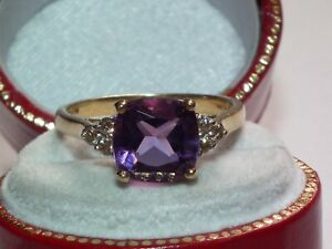 Beautiful Solid 9ct Gold Natural Diamond & 2ct Amethyst Ring, Lovely Example!