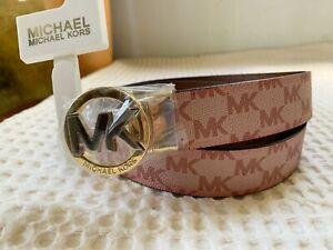 NWT Michael Kors MK WOMEN Logo Signature Monogram Twist Reversible Belt XL