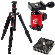 HORUSBENNU M-2531T Black D-SLR Traveler Camera Tripod+BallHead LX-28T Red w/Case