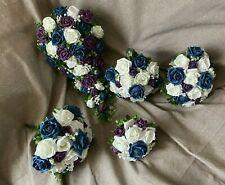 Las flores de ducha de Novia de Boda Ramo paquete ciruela y verde brillante con Gyp