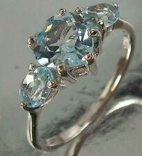 925 Sterling Silver and Topaz Love Heart Design Ring US Size 7 AU N 1/2