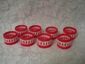 Set of Eight Napkin Rings Red And White Handmade