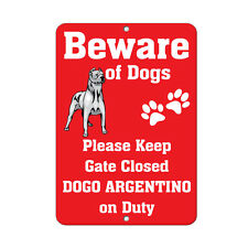 DOGO ARGENTINO DOG Beware of Fun Novelty METAL Sign