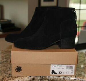 NEW UGG Bandara Ankle Boot Black Suede Leather Heel Womens Size 10 NIB