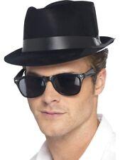 uomo anni 50 Dondolo Fedora Cappello Costume nero Rocker