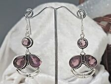 925 Sterling Silver Overlaid Faceted Amethyst Dangle  Earrings