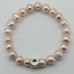ARTISAN Pearl Stretch Bracelet with a 925 Sterling Silver Bead #5