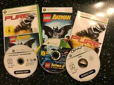 3 x XBOX 360 GAMES LEGO BATMAN THE VIDEOGAME +2 DC SUPER HEROES +PURE pal