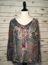 One World Womens Blouse Tunic Top Peasant Boho Paisley Tassels Size Large