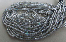 """13"""" strand AAA LABRADORITE faceted gem stone rondelle beads 2.5mm blue green"""