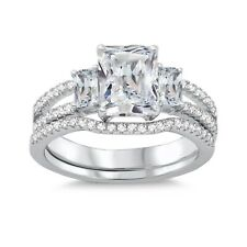 Emerald Baguette Simulated Diamond Engagement Wedding White Gold Plate Ring Set