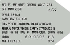 HARLEY DAVIDSON SX250 1978 HEADTUBE TAG  / REPRO DECAL