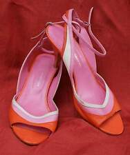 FRENCH CONNECTION colour block leather peep toe sandals size 39/ 5.5 UK