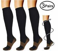 Best Graduated Compression Socks (3Pairs) Black S-XXL 15-20mmHg Men's Women's