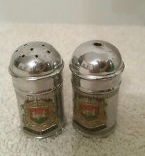 Vintage Gilbraltar Chrome Plated Salt & Pepper Shakers w/Blue Glass Insert-Eng.