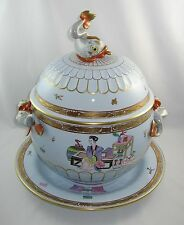 "Herend MING ""HUGE 6 QT COVERED DOLPHIN TUREEN & UNDERPLATE"" 6510/MG / Blue Glaze"