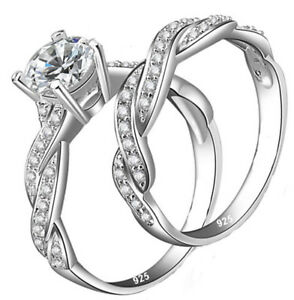 Real 925 Sterling Silver Women's Wedding Engagement Ring or Band Diamonique CZ