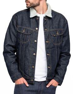 LEE Rider Mens Sherpa Fur Collar Denim Jacket Warm Winter Jean Coat Rinse Blue