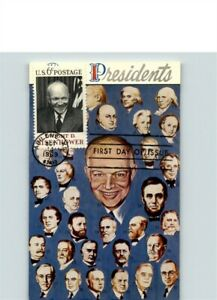 President DWIGHT D. EISENHOWER FDC on Card with pic of all other Presidents