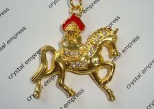 Feng Shui - 2016 Gold Wind Horse with Flaming Jewel Keychain