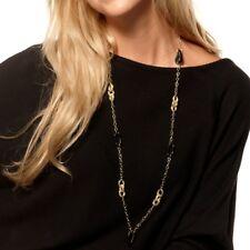 "38"" Technibond Black Onyx Gemstone Chain Necklace 14K Yellow Gold Clad Silver"