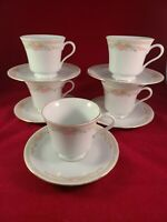FAIRFIELD SYMPHONY FINE CHINA  5 FOOTED TEA CUP & SAUCER .GOLD TRIM.
